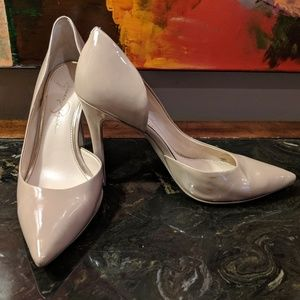 Nude Patent Leather Cut-Out Pumps